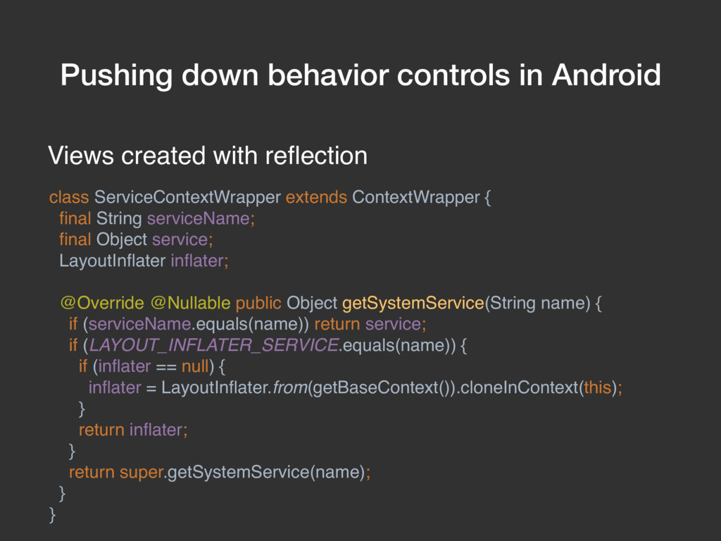 Pushing down behavior controls in Android Views...