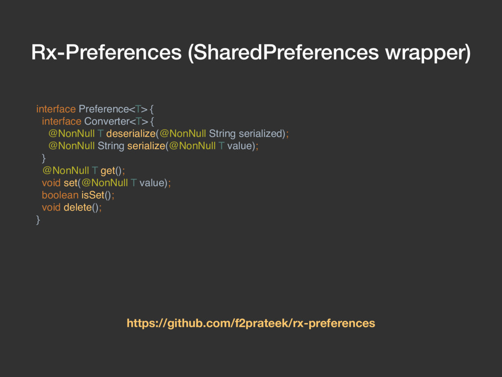 Rx-Preferences (SharedPreferences wrapper) inte...
