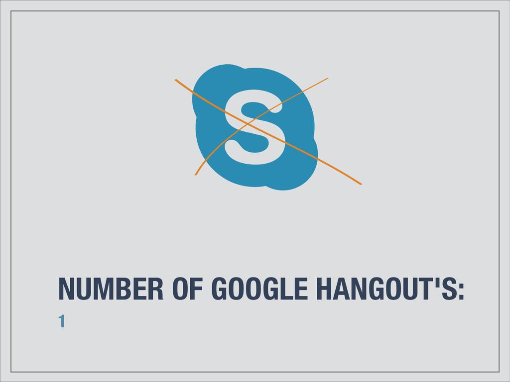 NUMBER OF GOOGLE HANGOUT'S: 1