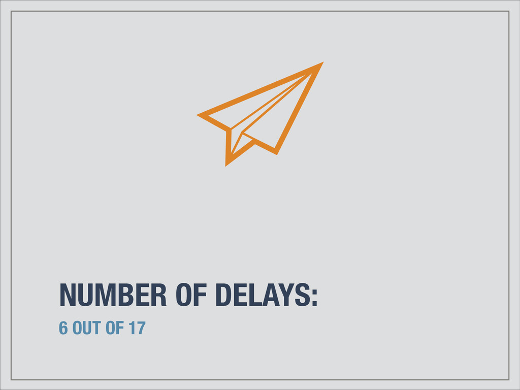 NUMBER OF DELAYS: 6 OUT OF 17