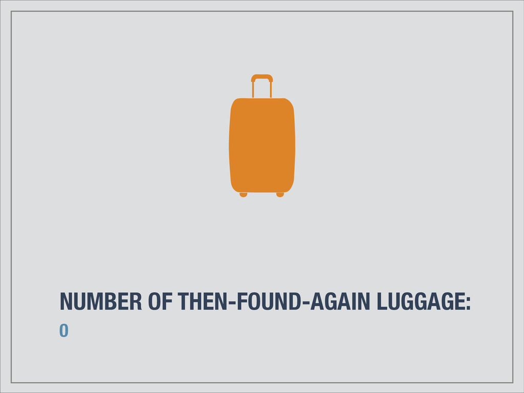 NUMBER OF THEN-FOUND-AGAIN LUGGAGE: 0