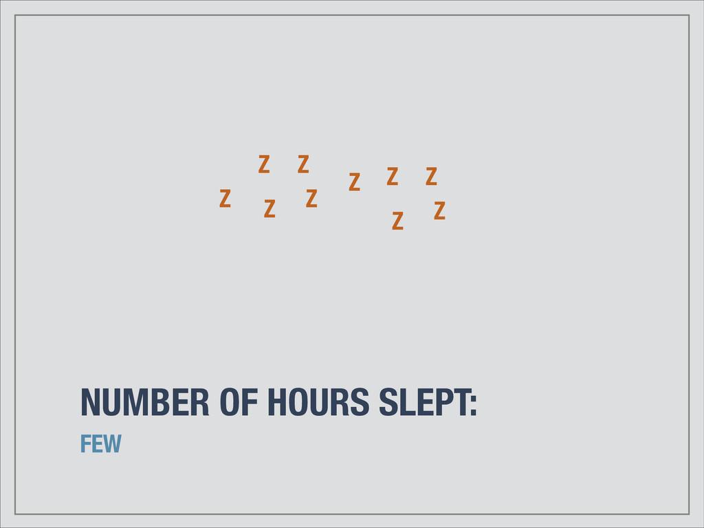 NUMBER OF HOURS SLEPT: FEW Z Z Z Z Z Z Z Z Z Z