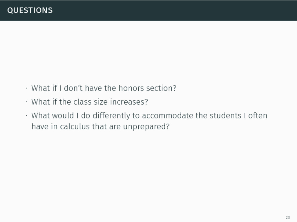 questions ∙ What if I don't have the honors sec...