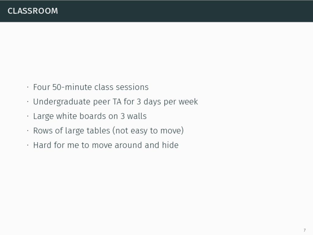 classroom ∙ Four 50-minute class sessions ∙ Und...