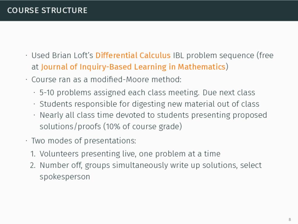 course structure ∙ Used Brian Loft's Differenti...