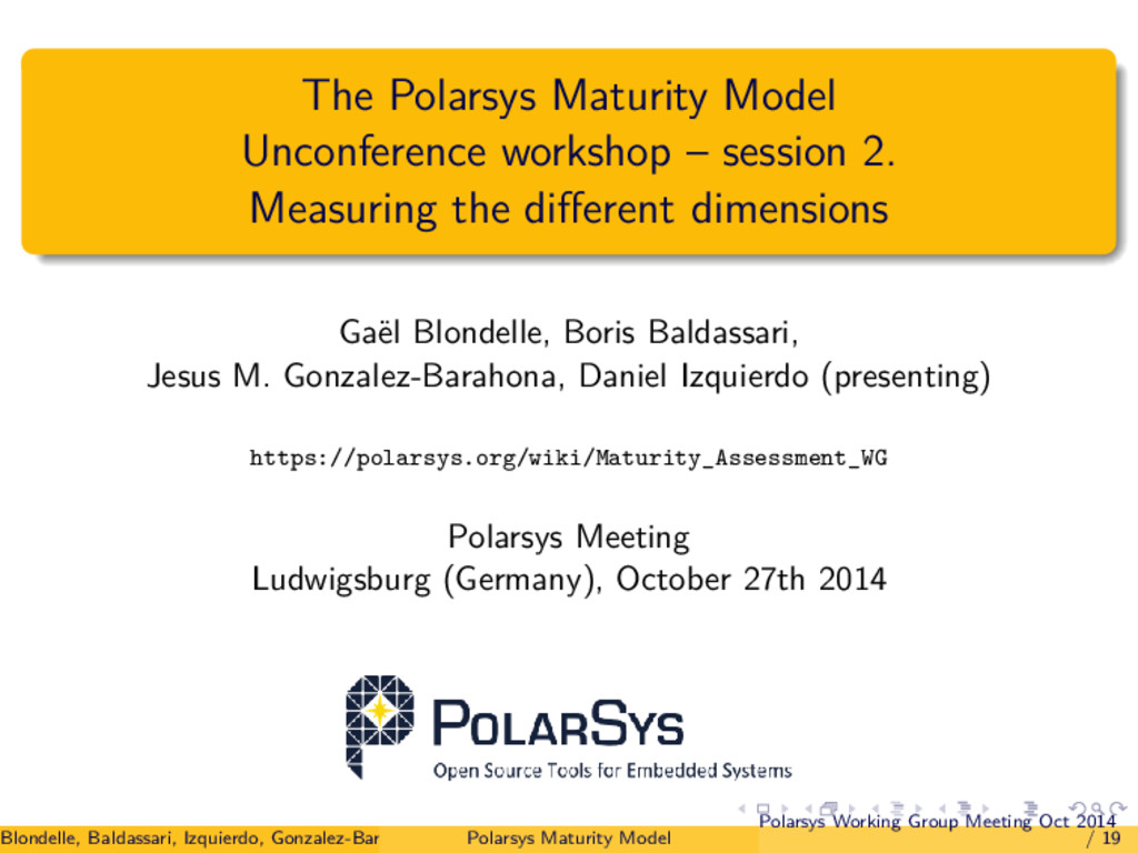 The Polarsys Maturity Model Unconference worksh...
