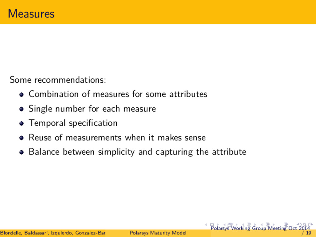 Measures Some recommendations: Combination of m...