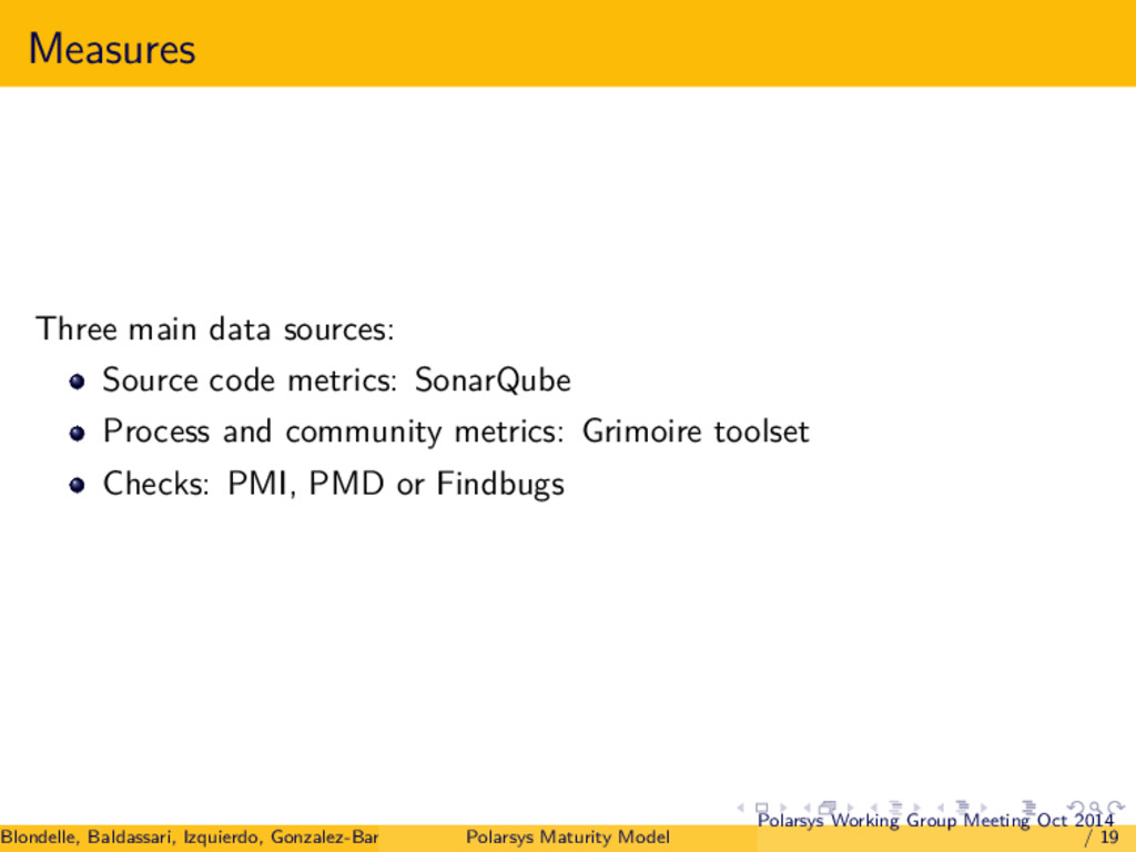 Measures Three main data sources: Source code m...