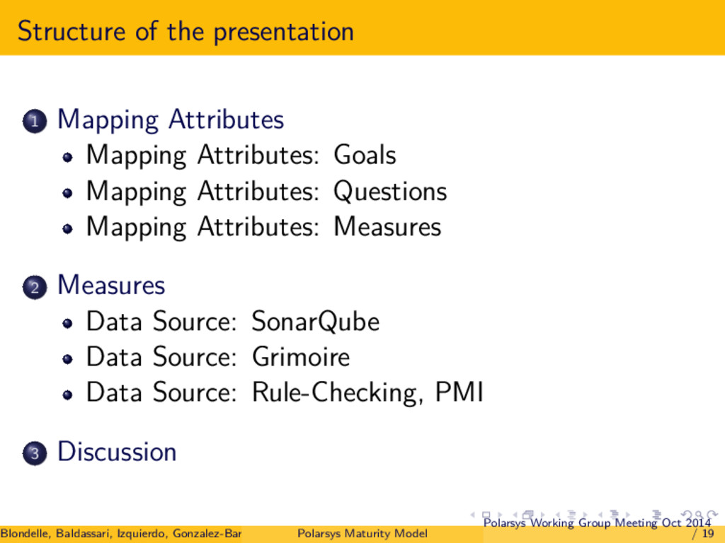 Structure of the presentation 1 Mapping Attribu...