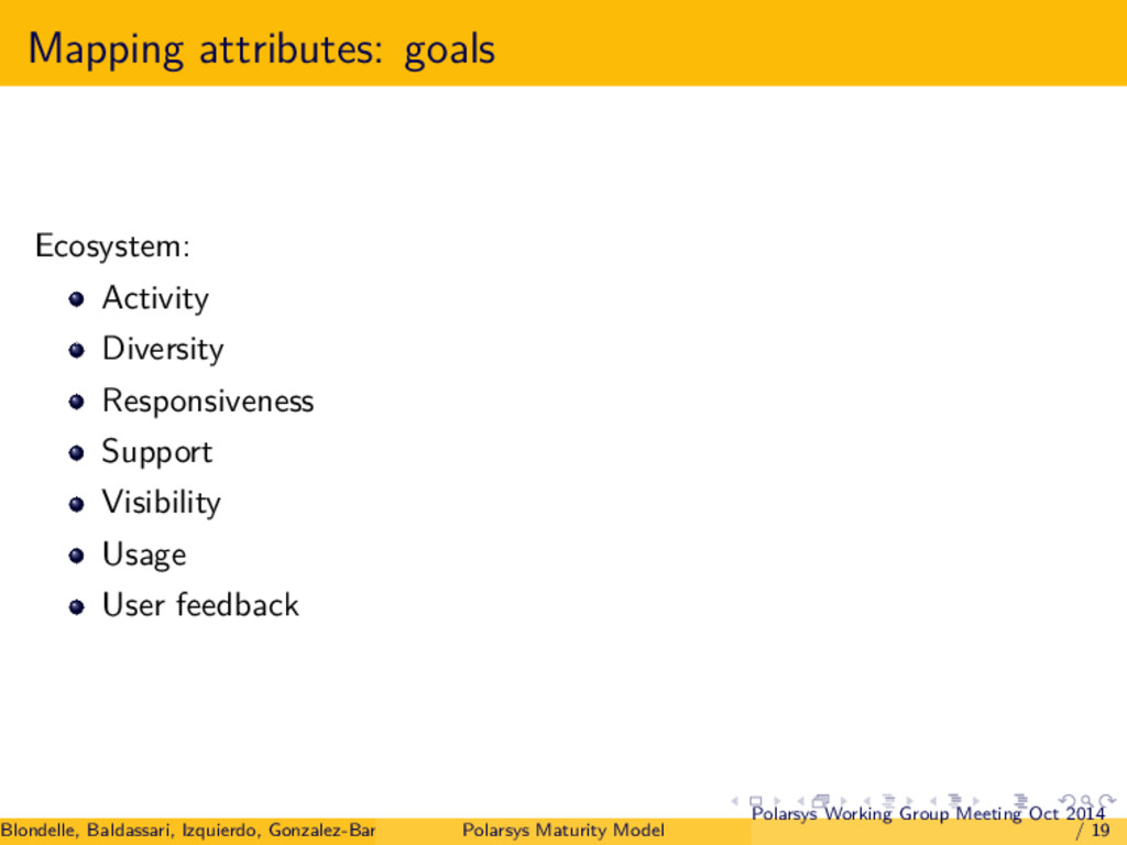 Mapping attributes: goals Ecosystem: Activity D...
