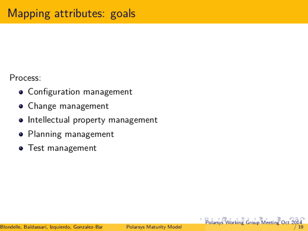 Mapping attributes: goals Process: Configuration...