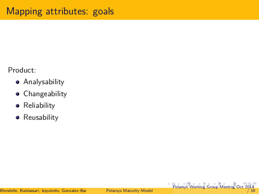 Mapping attributes: goals Product: Analysabilit...