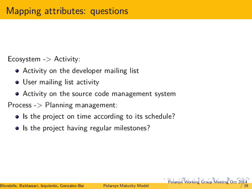 Mapping attributes: questions Ecosystem -> Acti...