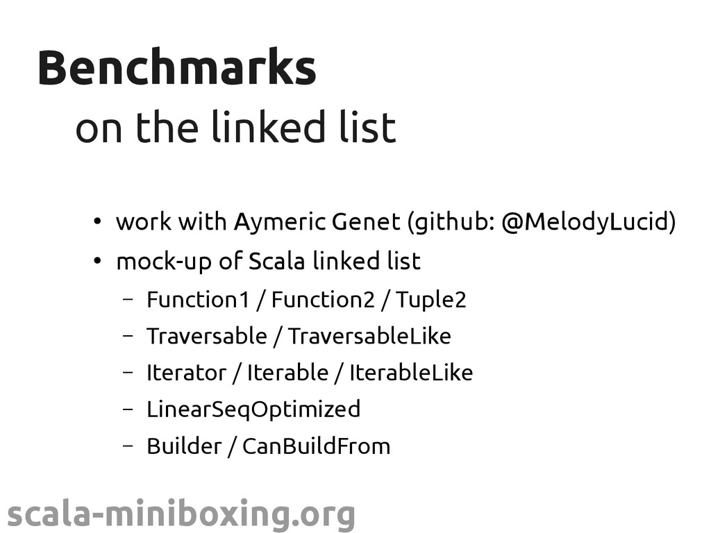 scala-miniboxing.org Benchmarks Benchmarks on t...