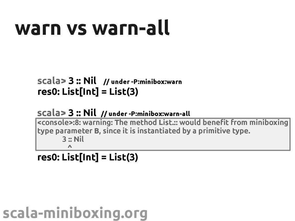 scala-miniboxing.org warn vs warn-all warn vs w...