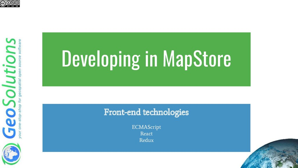 Developing in MapStore Front-end technologies E...