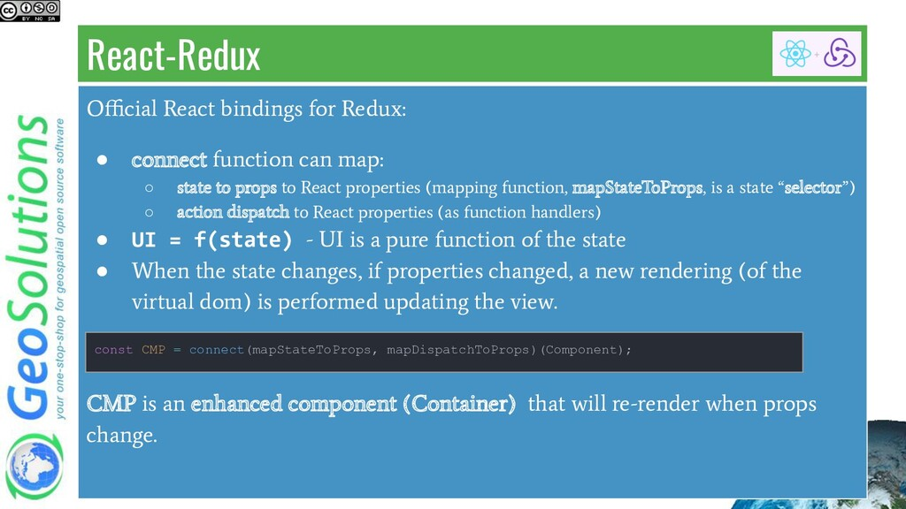 React-Redux Official React bindings for Redux: ● ...