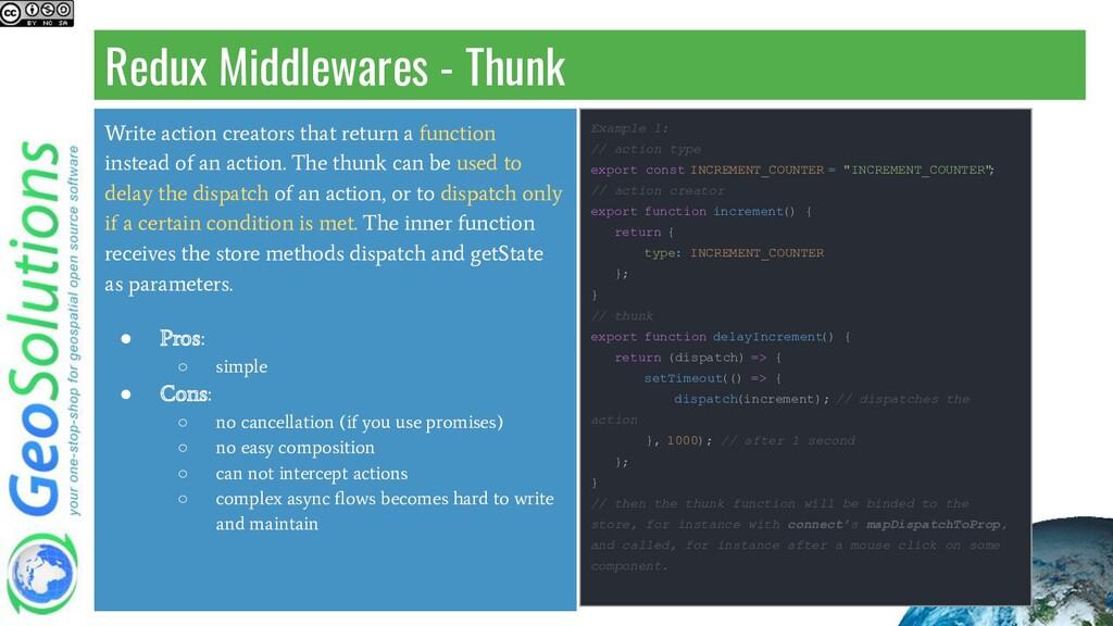 Redux Middlewares - Thunk Write action creators...