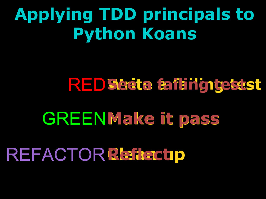 REFACTORClean up Applying TDD principals to Pyt...
