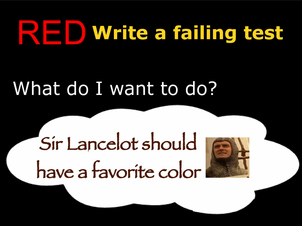 REDWrite a failing test What do I want to do? S...