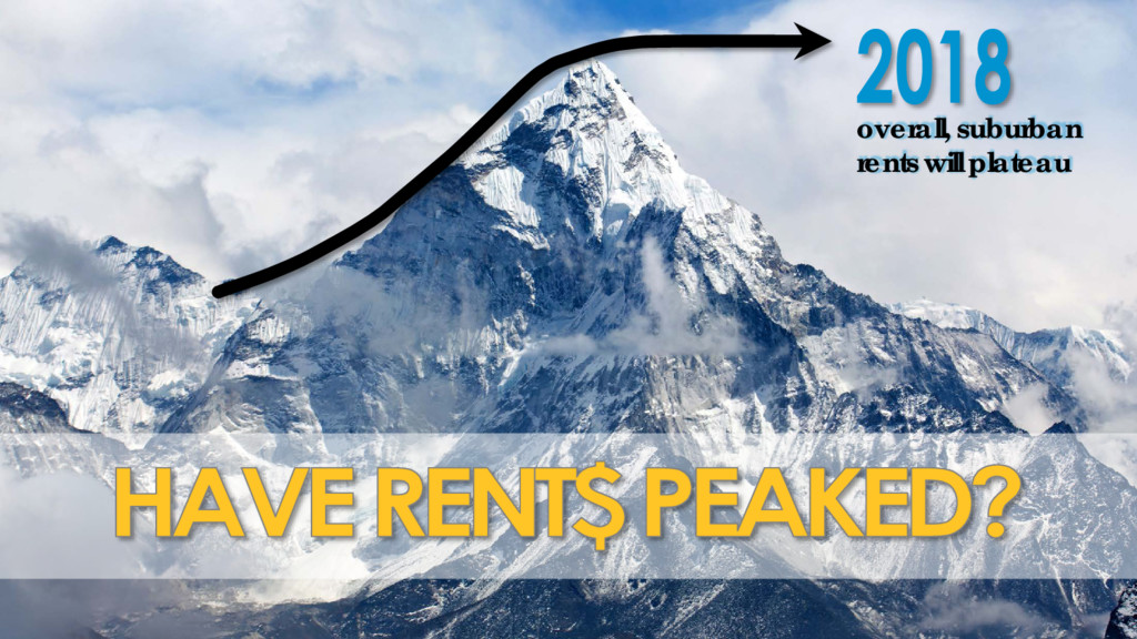 overall, suburban rents will plateau