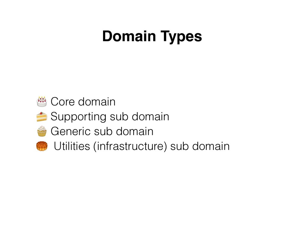 Domain Types 🎂 Core domain  🍰 Supporting sub d...