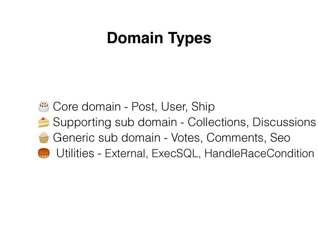 Domain Types 🎂 Core domain - Post, User, Ship ...