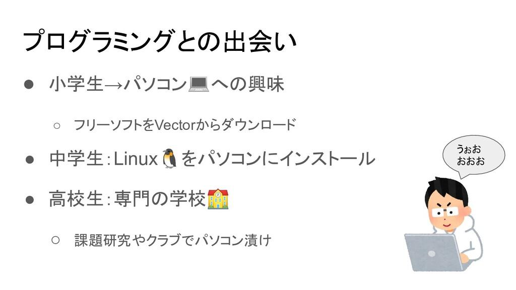 プログラミングとの出会い ● 小学生→パソコン💻への興味 ○ フリーソフトをVectorからダ...