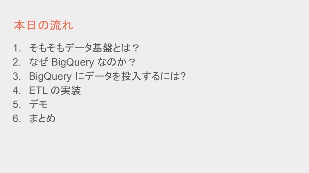 本日の流れ 1. そもそもデータ基盤とは? 2. なぜ BigQuery なのか? 3. Bi...