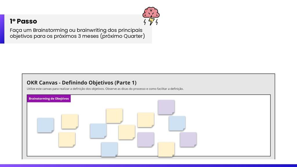 1º Passo Faça um Brainstorming ou brainwriting ...