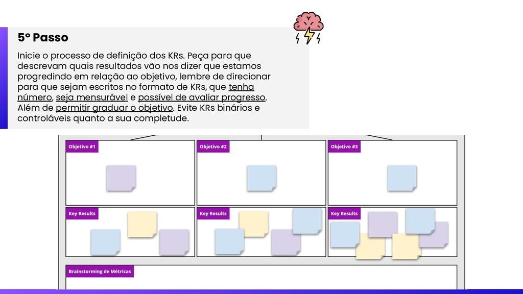 5º Passo Inicie o processo de definição dos KRs...