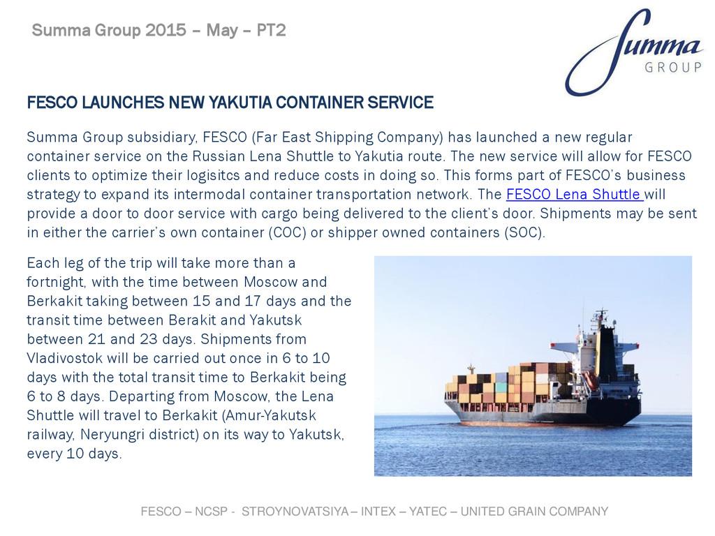FESCO LAUNCHES NEW YAKUTIA CONTAINER SERVICE Su...