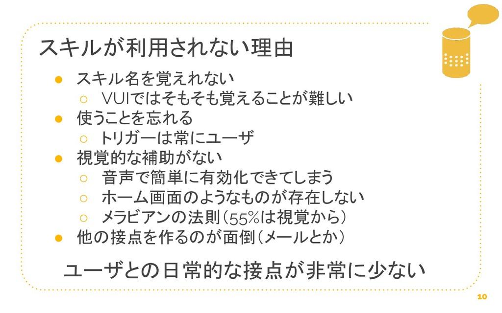 スキルが利用されない理由 10 ● スキル名を覚えれない ○ VUIではそもそも覚えることが難...