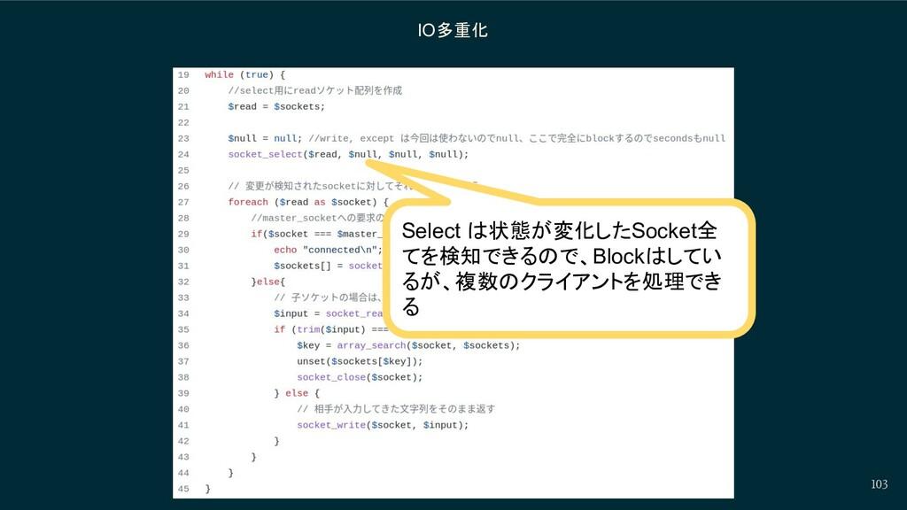 103 IO多重化 Select は状態が変化したSocket全 てを検知できるので、Bloc...
