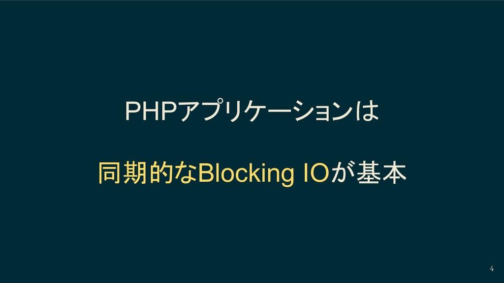 4 PHPアプリケーションは 同期的なBlocking IOが基本