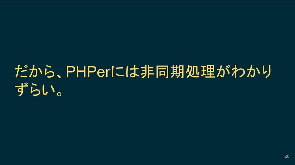 68 だから、PHPerには非同期処理がわかり ずらい。
