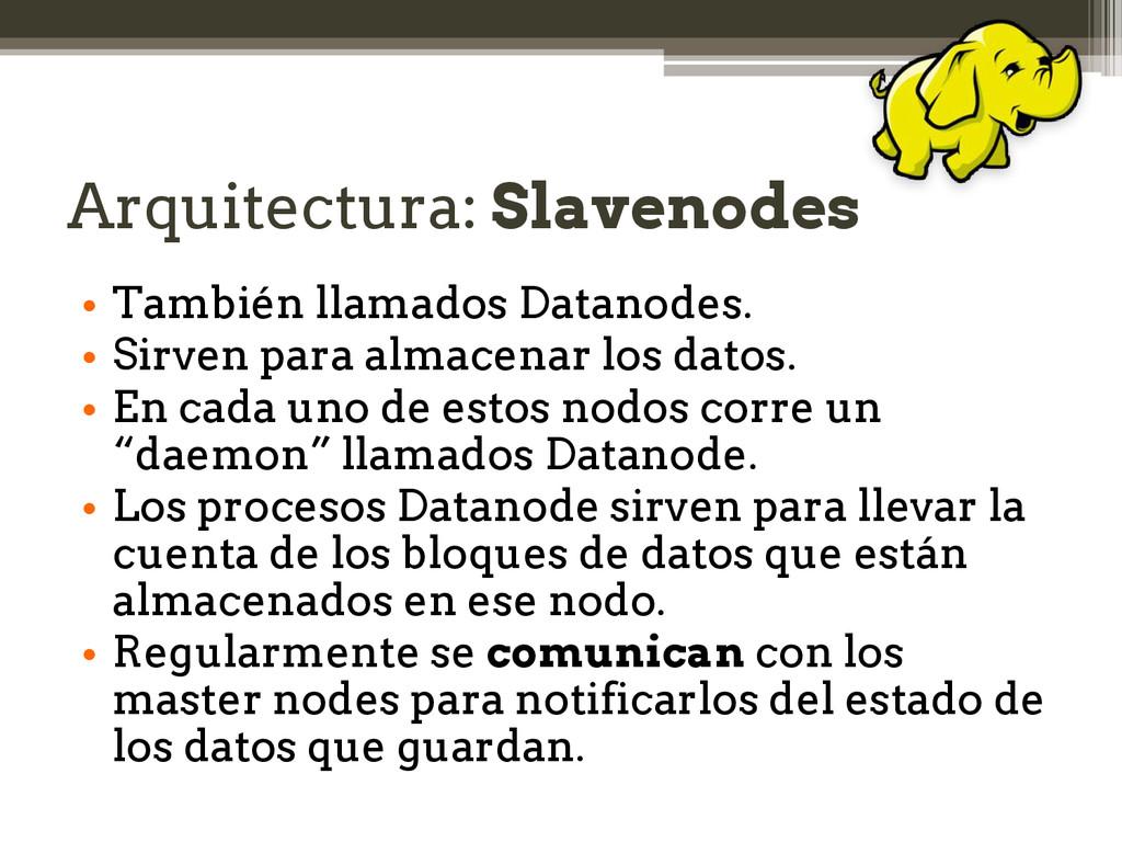 Arquitectura: Slavenodes • También llamados Dat...