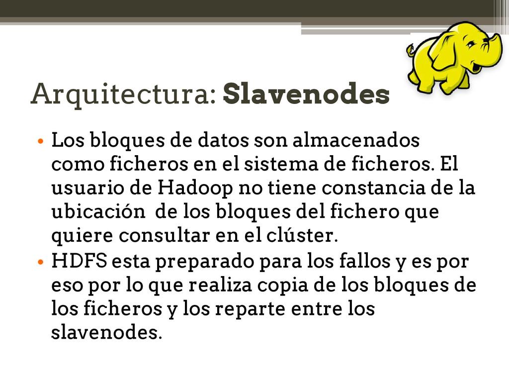 Arquitectura: Slavenodes • Los bloques de datos...