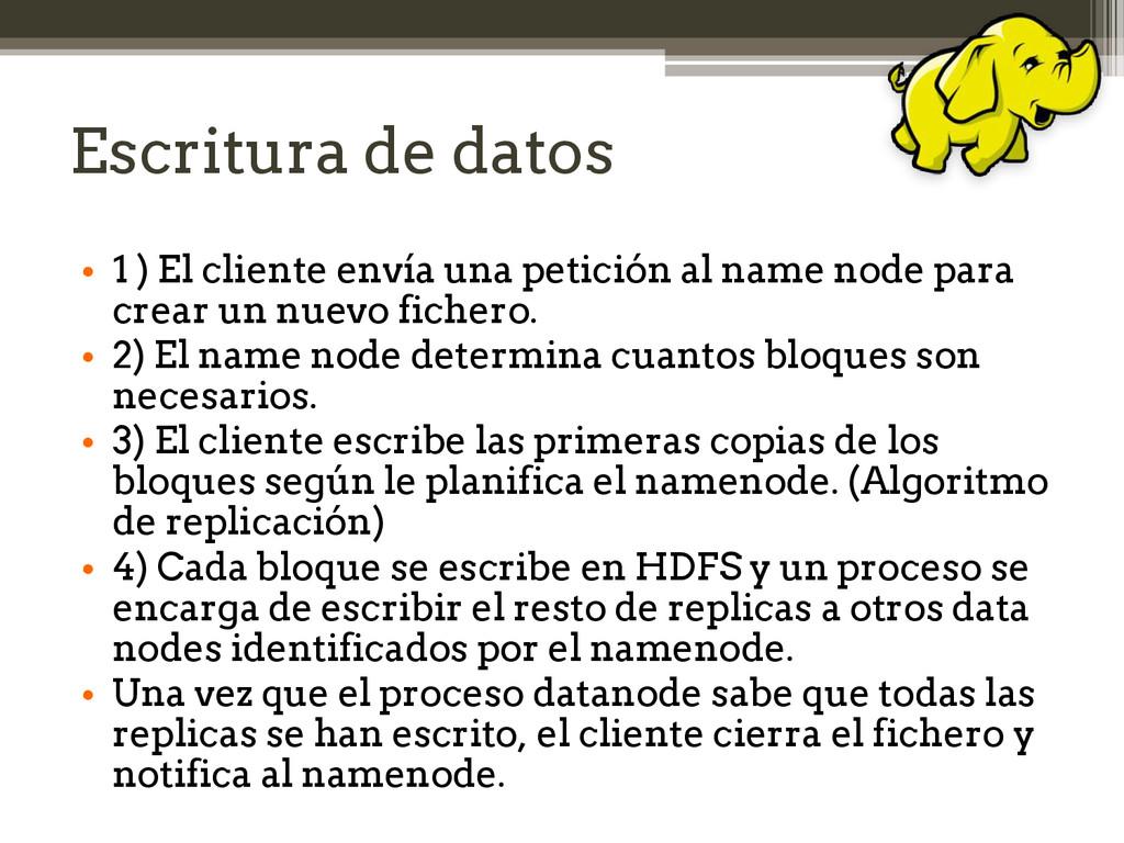 Escritura de datos • 1 ) El cliente envía una p...