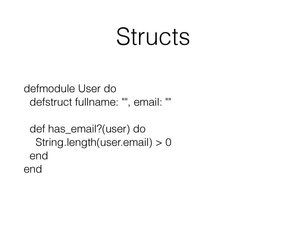 "Structs defmodule User do defstruct fullname: ""..."