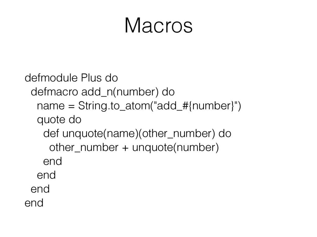 Macros defmodule Plus do defmacro add_n(number)...