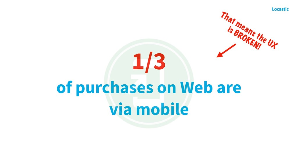 1/3 of purchases on Web are via mobile That mea...