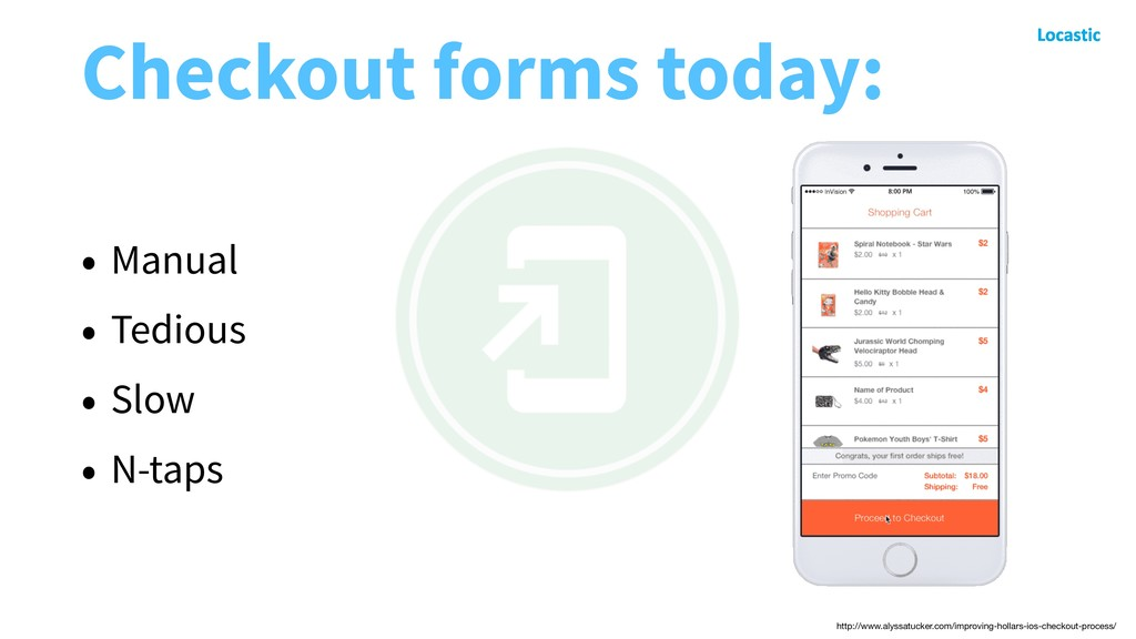 Checkout forms today: • Manual • Tedious • Slow...