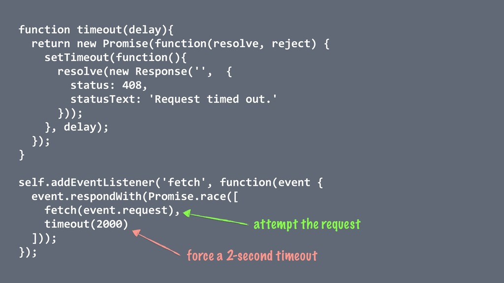 function timeout(delay){ return new Promise(fun...