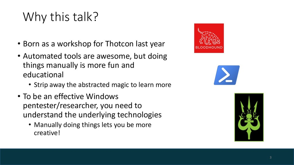 Why this talk? • Born as a workshop for Thotcon...