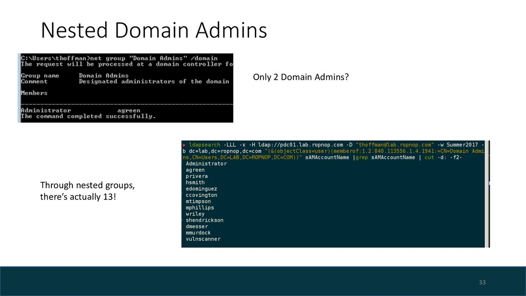 Nested Domain Admins 33 Only 2 Domain Admins? T...
