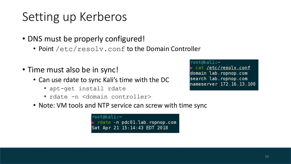 Setting up Kerberos • DNS must be properly conf...