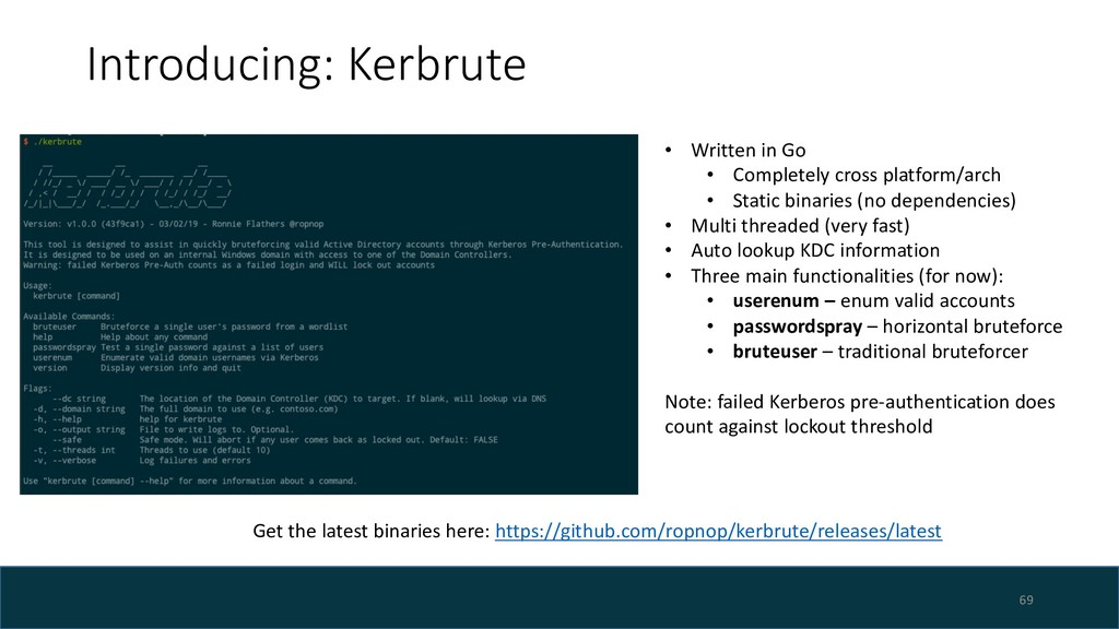 Introducing: Kerbrute 69 • Written in Go • Comp...
