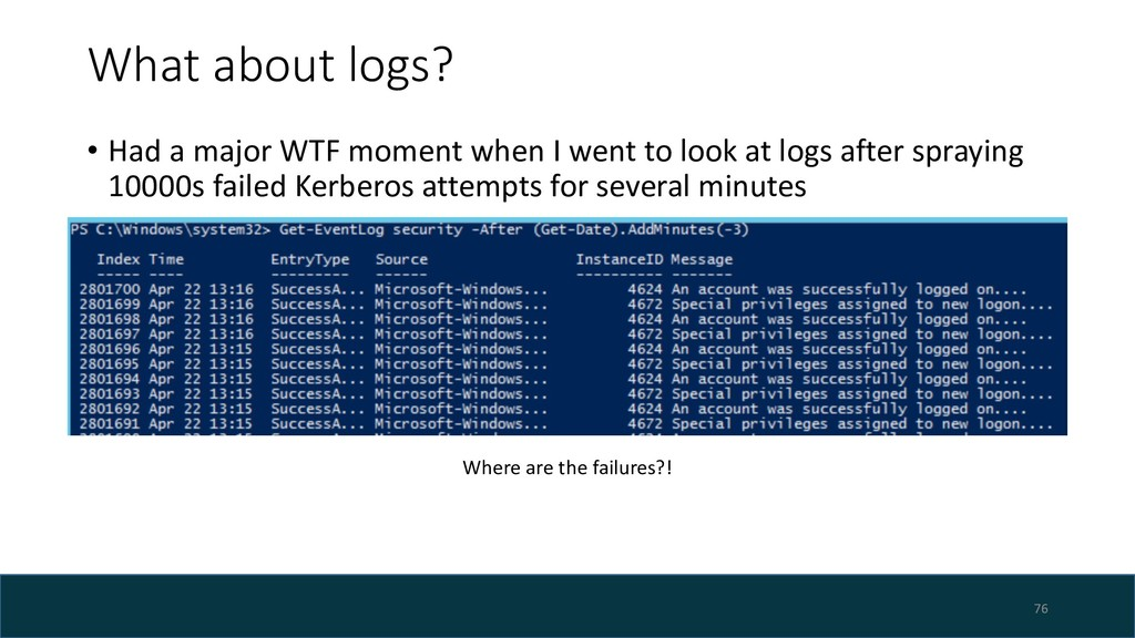 What about logs? • Had a major WTF moment when ...