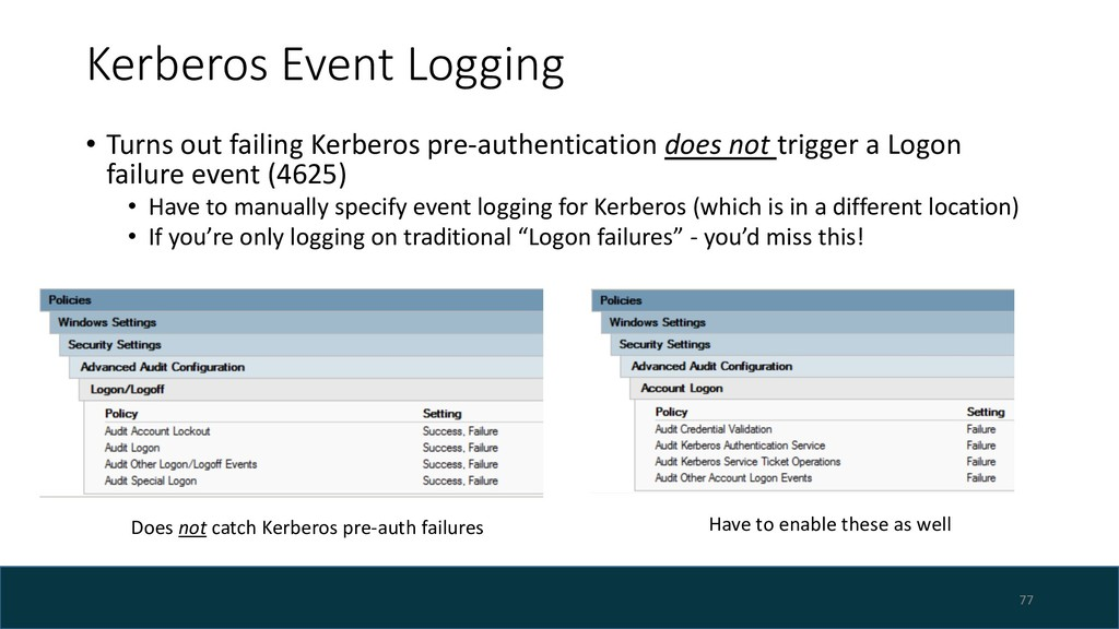 Kerberos Event Logging • Turns out failing Kerb...